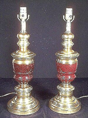 Pair Of Mid Century Classical Regency Faux Marble Decorated Brass Lamps