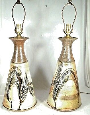 A Grand Pair Of Mid Century Modern Art Pottery Decorated Stoneware Lamps