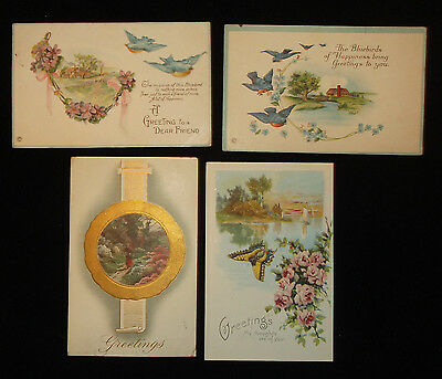 "Postcard Embossed Lot of 4 - 1910s & 20s - ""Greetings"" - Bluebirds Butterfly"