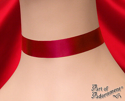 Gothic 22mm Plain DEEP RED SATIN CHOKER Necklace Victorian Style Custom Made L11