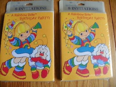 Hallmark Rainbow Brite Birthday Party invitations 2 packages 8 each total 16 new