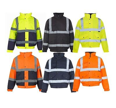 New HI VIZ Bomber Jacket Coat Work Security Visibility Parka Waterproof High Vis