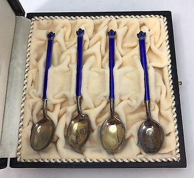 Norway David Andersen Set Of Sterling Silver Blue Enamel Spoons
