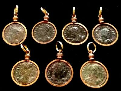 One Genuine AE3 Ancient Roman Coin Pendant Necklace Charm Patina Antique Brass