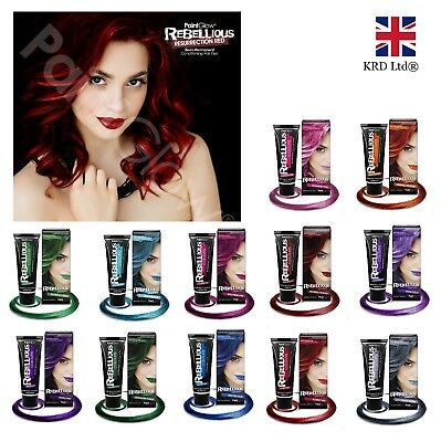 Rebellious Semi Permanent HAIR DYE 13ml Streak Tube Conditioning Bright Color UK