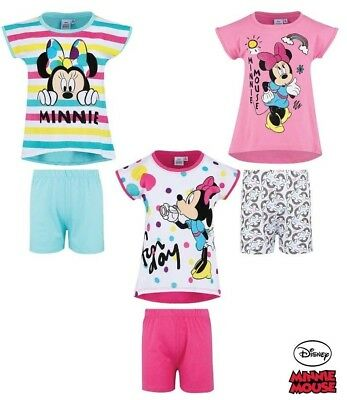 Girls Children Disney Minnie Mouse Pyjamas pjs T-Shirt Shorts Set Age 2-8 years