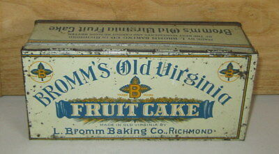 Rare Antique Bromm's Old Virginia Fruit Cake 1 Lb. Tin-Copyright 1920