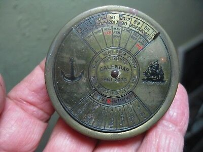 """Vintage 2-1/4"""" Perpetual Calendar 50 year 1981-2030 DESK PAPERWEIGHT w Anchor"""