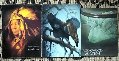lot of 3 ROOKWOOD POTTERY AUCTION CATALOGS- and RARE ROSEVILLE WELLER -KERAMICS