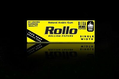 5 X 50pc ROLLO YELLOW ROLLING PAPERS RYO Cigarette Tobacco Roller Filter Ventti