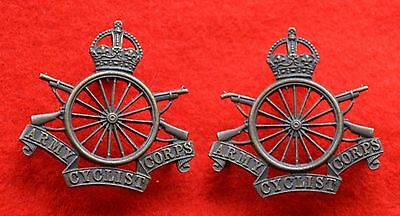 British Army. Army Cyclist Corps Genuine WW1 Officer's Collar Badges