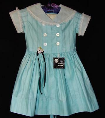 "SWEET VTG 50s GIRLS AQUA COTTON EYELET W LACE PARTY ""SISTER SUE"" DRESS NEW OLD 6"