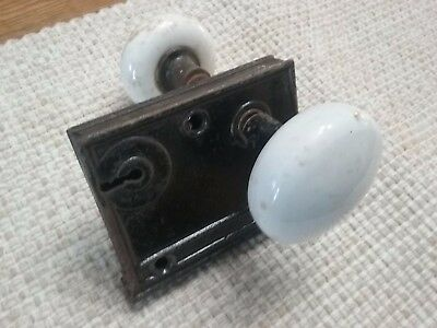 Antique- Vintage Door Handle w/ lock. White Porcelain Knobs