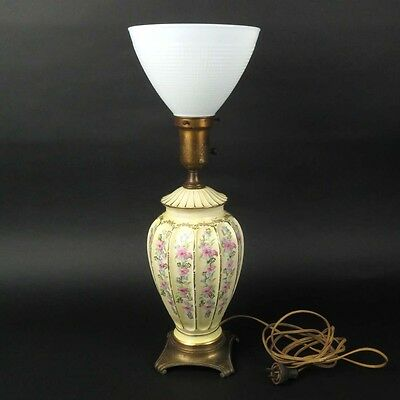 Vtg floral table lamp yellow ceramic painted milk glass shade Artistic Lamp Co