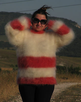 MOHAIR Hand Knitted WHITE and RED Sweater Fluffy Fuzzy Pullover Unisex Handmade