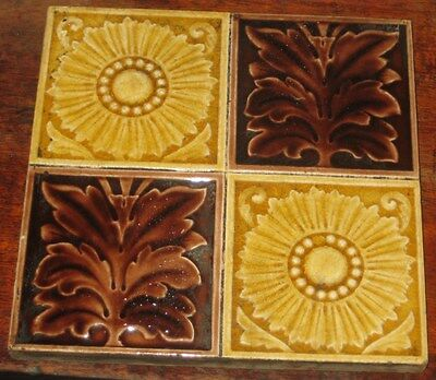 Vintage English Tile Very Pretty Sunflowers Aesthetic Design