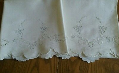 """2 Vintage 36"""" White Homespun Linen Towels ~ Hand Embroidered ~ Scalloped Edges"""
