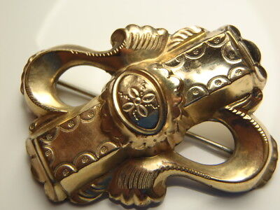 ANTIQUE Large Repousse Gold Plated Victorian Brooch Pin Lot 1412