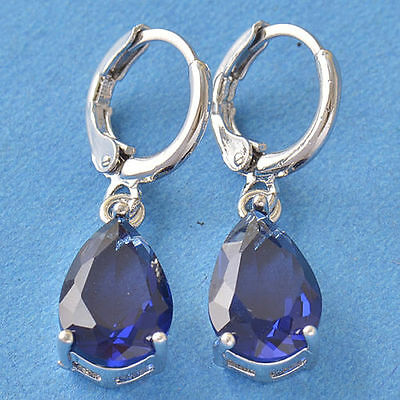 New 9K White Gold Filled Blue Sapphire CZ Pear Shape Tear Drop Dangle Earrings