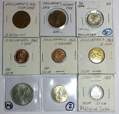 Lot Of 9 - Philippines & USA Minted Coins - Old Currency-  #100