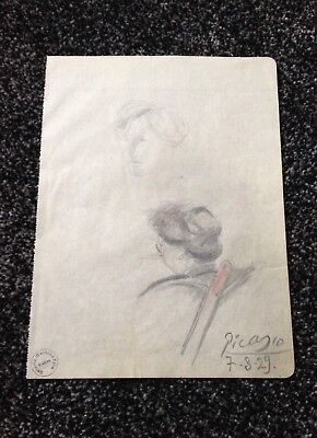 Pablo Picasso Original Vintage Drawing Hand Signed Dated 1929 Watermark Paper NR