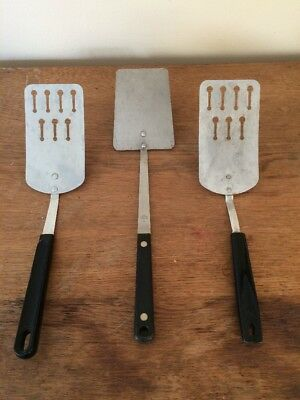 Vintage LOT 3 Kitchen Utensil Ekco Flint Slotted Spatula Turner Flipper Chromium
