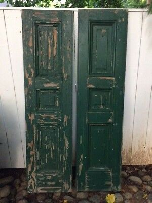 """Pair Vintage 1920s 3-Panel Georgian-style Shutters 16""""x63"""" Collector Green Paint"""
