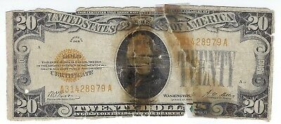 $20 1928 Gold Certificate, How Not To Treat, Terrible Condition