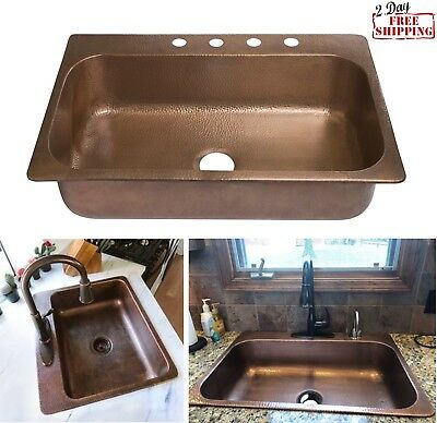 "NEW! 33"" Copper Kitchen Sink Drop In Single Bowl Handmade Antique Copper 4 Holes"