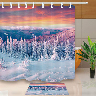 """Fox and Dusk in Winter Snow Forest Bathroom Fabric Shower Curtain With Hooks 71/"""""""
