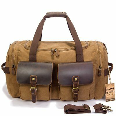 bd73a783f SUVOM Weekender Duffle Bag Canvas Leather Travel Luggage Oversized  Holdalls, Cof