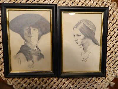 Signed 1969 Gail Richards Pencil Or Charcoal Spanish Drawings Original Vintage