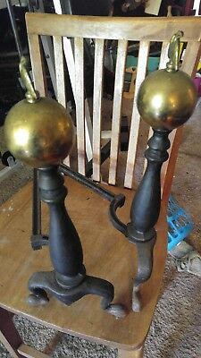 "Antique Andirons  Brass cannon ball l8.5 "" High VINTAGE FIREPLACE Set Of 2"