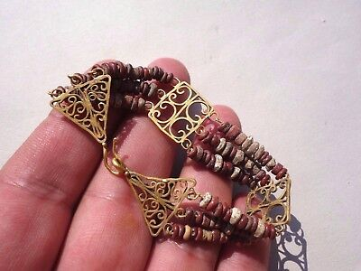ancient Roman pure Gold, and glass beads openwork bracelet