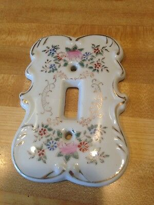 "VTG Switch Plate Cover Porcelain Cottage Chic Shabby Floral 5"" x 4"""