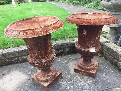 Pair large Antique French Cast Iron Rusty Campana URNS Jardiniere Pots Planters