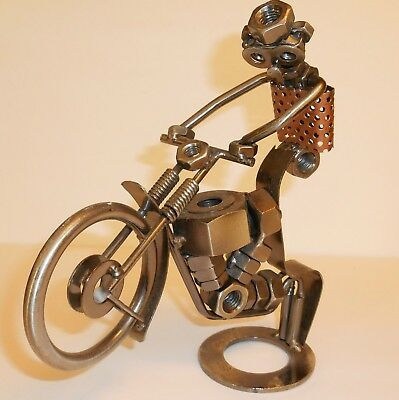 Vintage Handmade Metal Art Nuts And Bolts Motorcycle Rider