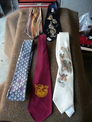 LOT OF 5,Vintage Mens Tie Necktie Lot Mid Century 1940s 1950s Swing Dance