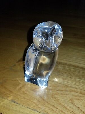 Baccarat France Signed Art Glass Crystal Barn Owl Paperweight Figurine Mint
