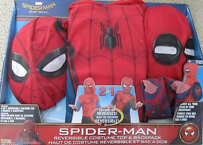Spider-Man Home Coming 2 IN 1 Costumes + Backpack Marvel Size 4-6 NEW 31934