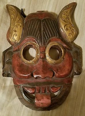 Hand Carved Wooden Thai Wall Hanging Mask, 11 by 8.5 Inches