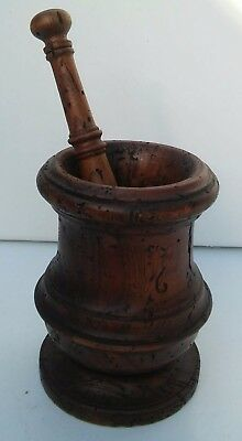 Large Unique Vintage Antique Apothecary Herb Solid Wood Wooden Mortar and Pestle