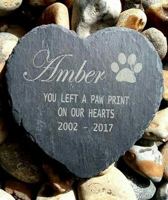 Personalised Engraved Slate Heart Pet Memorial Grave Marker Plaque Dog stone new