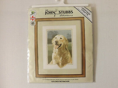 Golden Retriever Counted Cross Stitch Kit by Heritage Crafts John Stubbs New