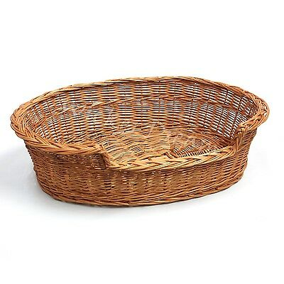 """Handcrafted Wicker Dream Dog Cat Pet Bed Basket Oval 23""""  Large"""