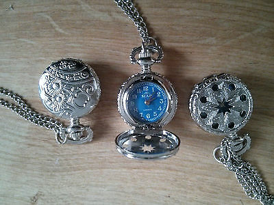 White Gold Plated Small Pocket Watch Necklace Pendant Vintage Antique Gift