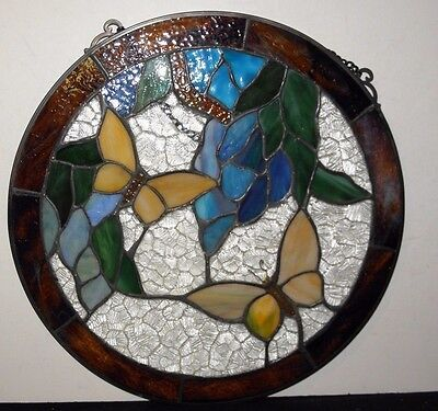 """Vintage Round Stained Glass With Butterflies~Ready To Hang~12"""" Circumference"""