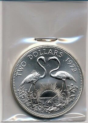 1972 Bahamas Uncirculated $2 Silver Coin (Flamingos), Km#23