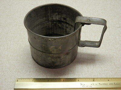 Vintage 2 Cup Tin Sifter Primitive Movable Handle Kitchen Kitchenware Flower