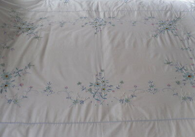 "Large White Oval Tablecloth Embroidered Flowers Cut Work 67"" x 144"""